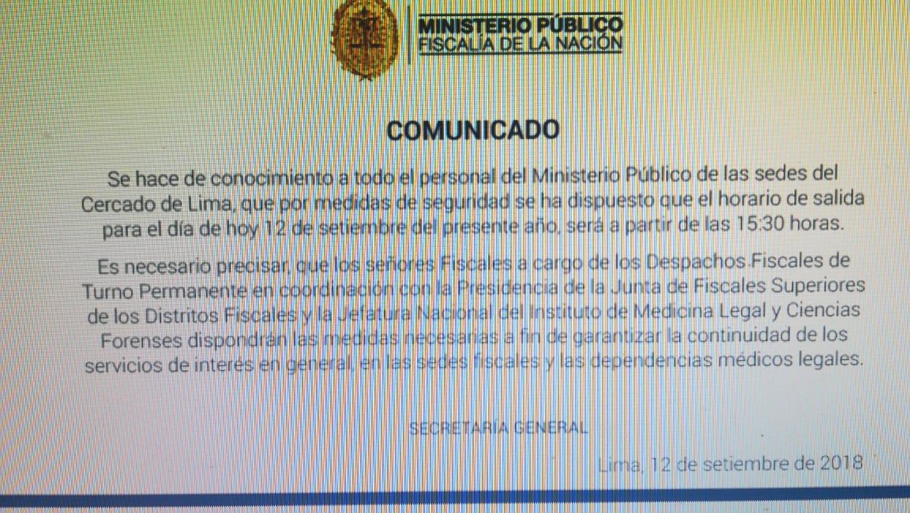 Comunicado Ministerio Público.