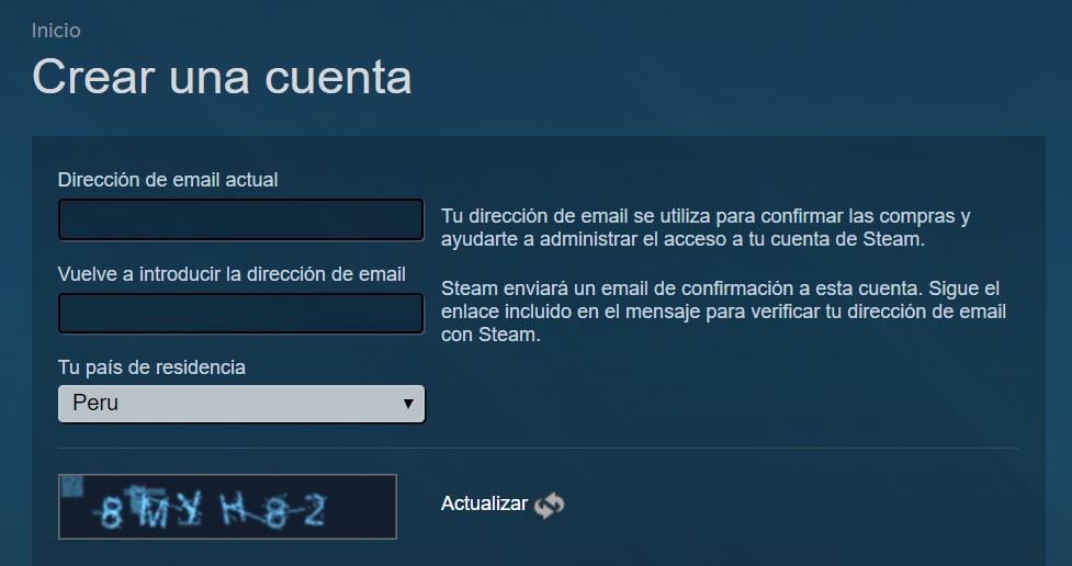 Crear cuenta Steam