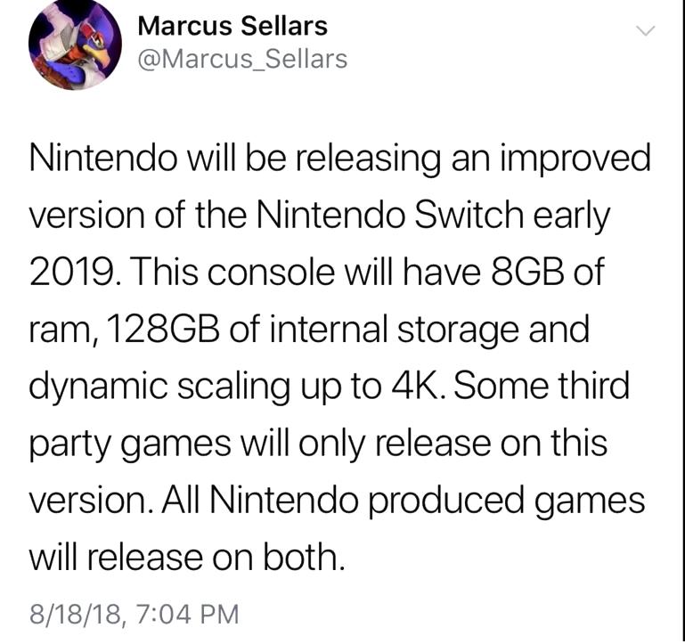 Nintendo Switch Pro tweet