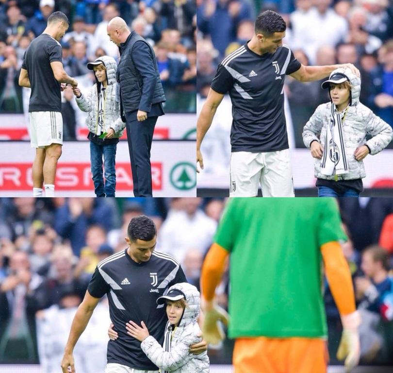 Cristiano Ronaldo y el niño en el estadio Dacia Arena