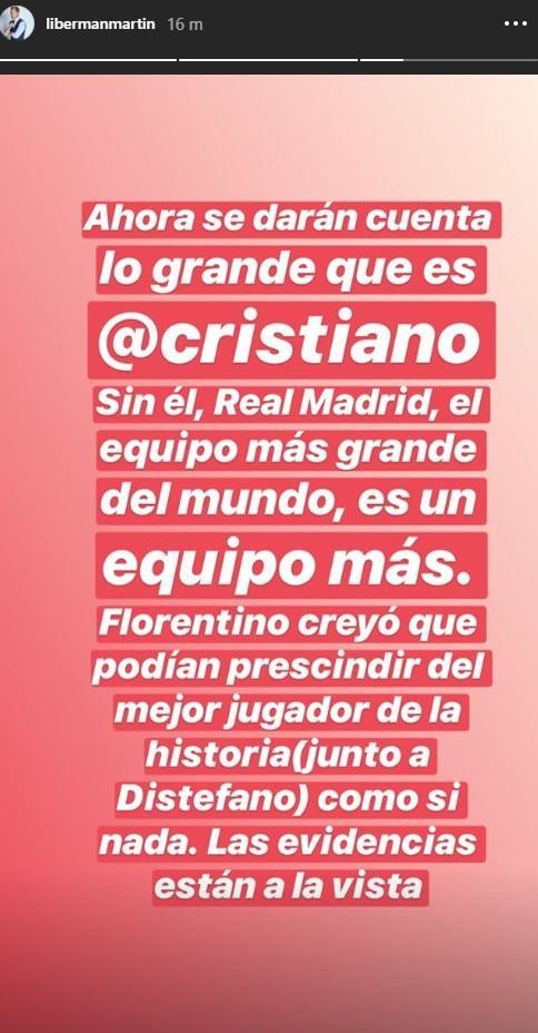 El mensaje de Martin Liberman en Instagram