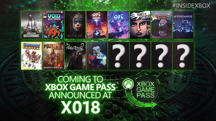 Xbox Game Pass juegos confirmados 2018