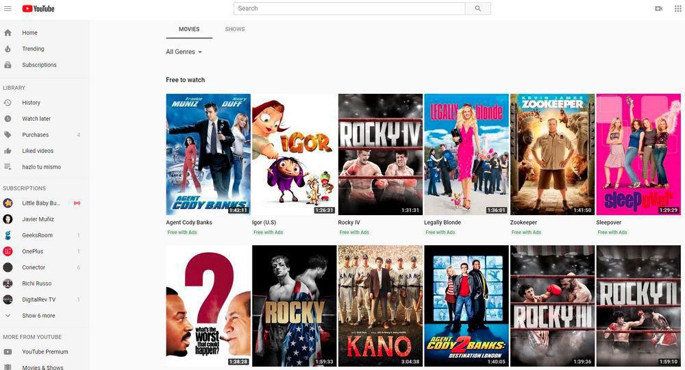 Ver películas en youtube gratis online