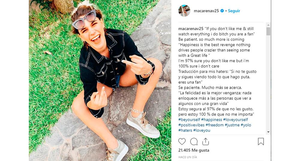 Macarena Vélez envía polémico mensaje a través de Instagram.