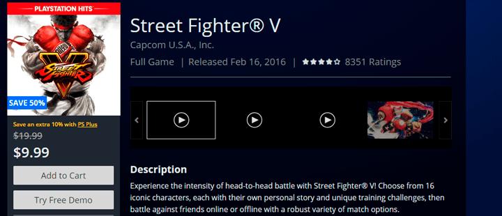 Street Fighter V psn store usa