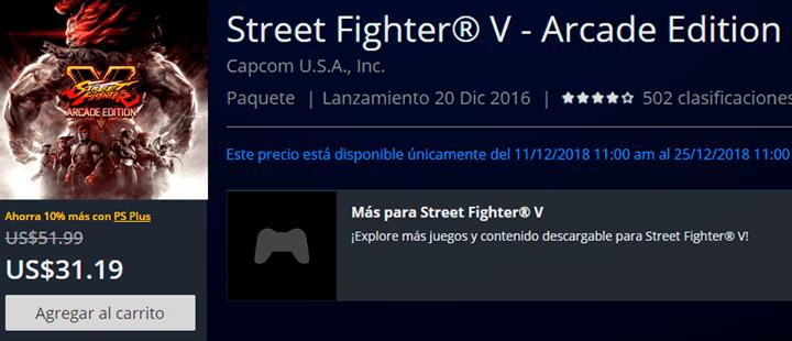 Street Fighter V psn store peru