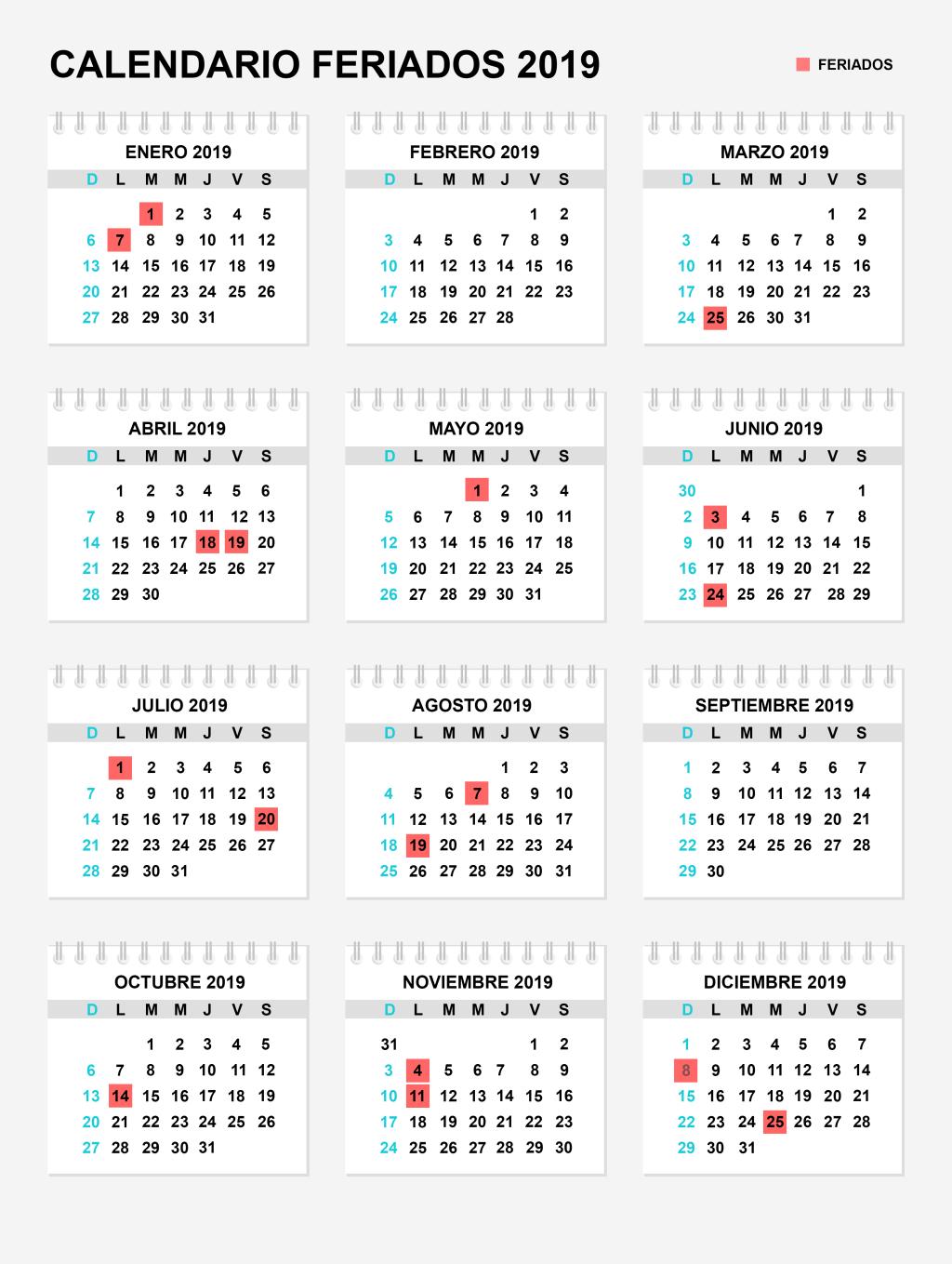 Días festivos Colombia 2019