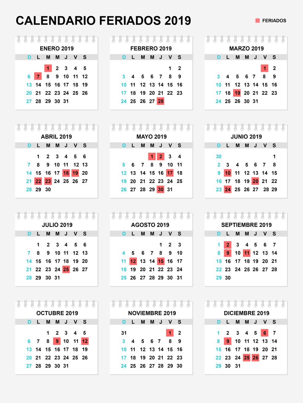 Calendario Laboral 2019 Andalucia.Calendario Laboral Ano 2019 Espana Dias Festivos Y Puentes Por