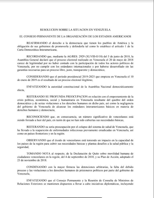 Resolución OEA