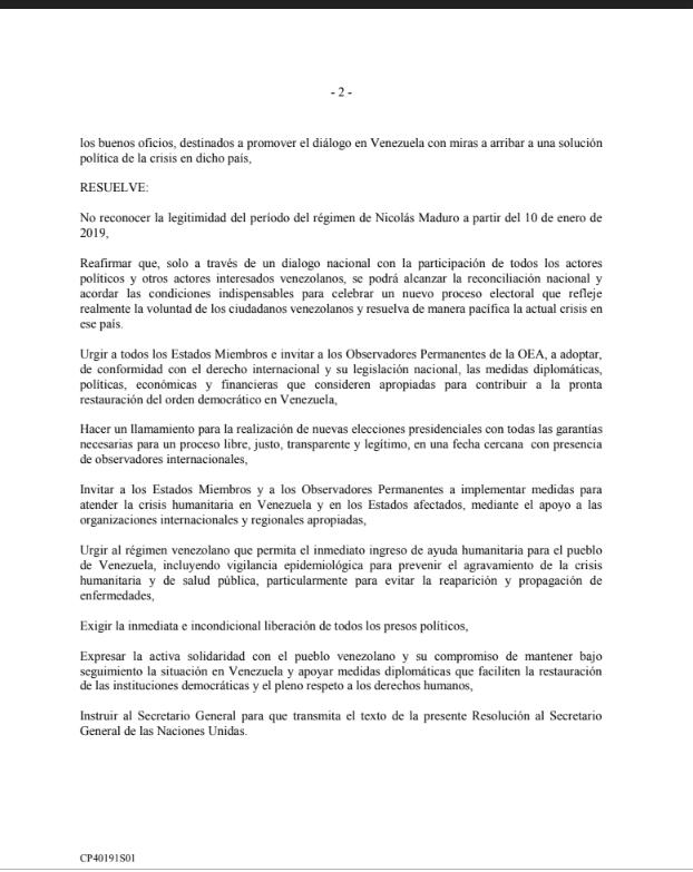 Resolución de OEA