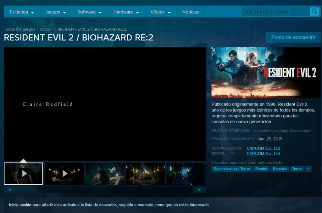 Steam descargar gratis Resident Evil 2 Remake PC