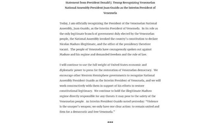 Juan Guaidó es reconocido por Donald Trump como presidente de EE. UU.