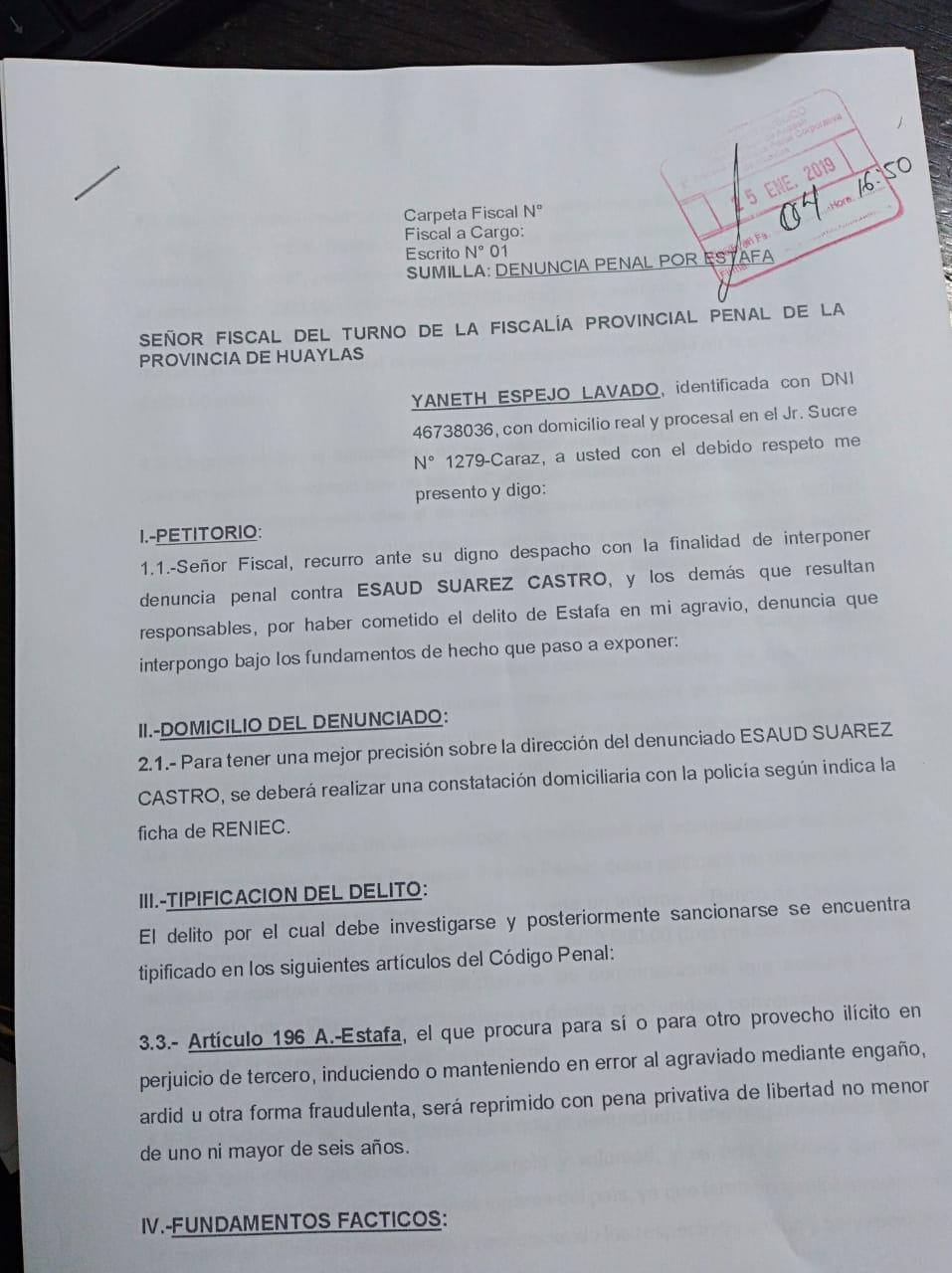 Denuncia contra Esaud Suárez