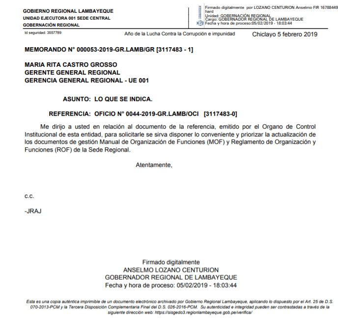 Anselmo Lozano pide modificar el ROF y el MOF.