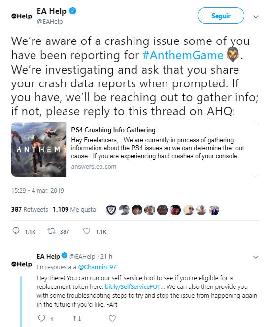 EA sobre Anthem en PS4