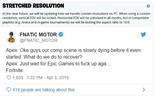 Fortnite twitter resolucion Apex