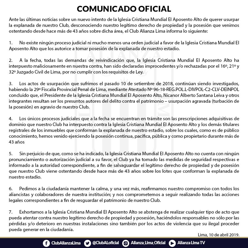 Comunicado Alianza Lima
