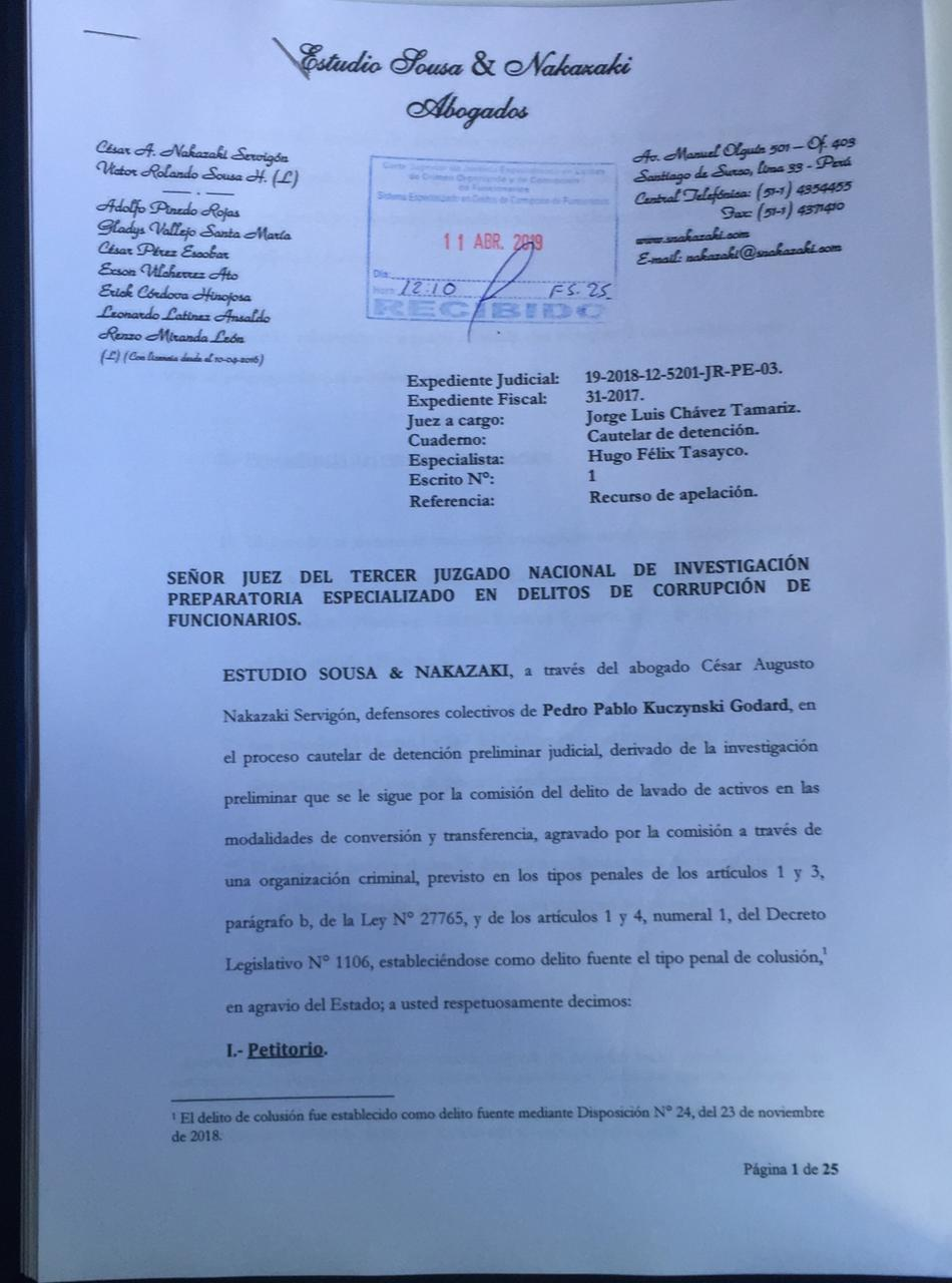 apelación detencion ppk