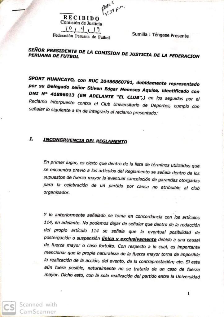 Comunicado Universitario vs Huancayo