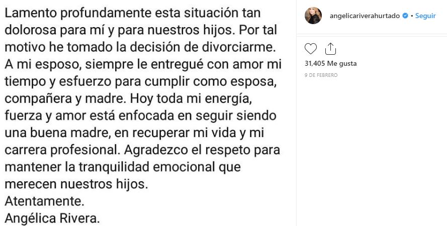 Angélica Rivera divorcio
