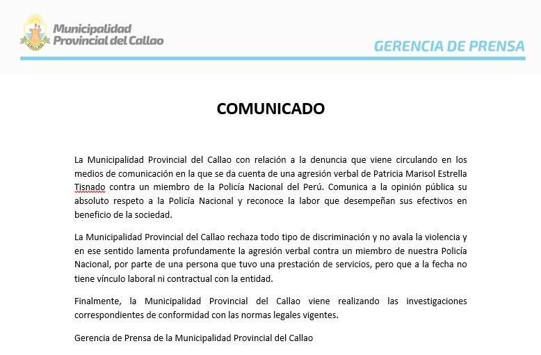 Municipalidad Provincial del Callao negó que agresora de policía trabaje más en su administración.