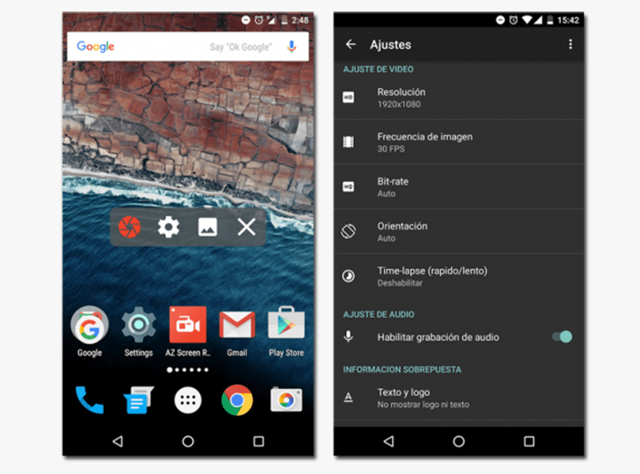 Smartphone Android grabar pantalla