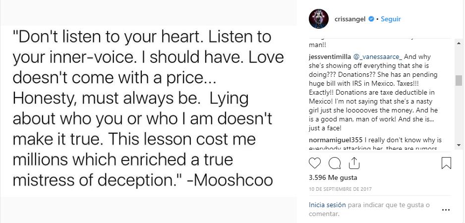 Post de Criss Angel en Instagram