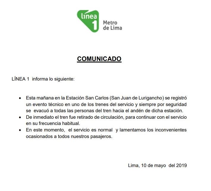Comunicado de Metro de Lima