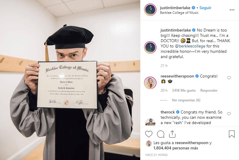 Justin Timberlake y su diploma
