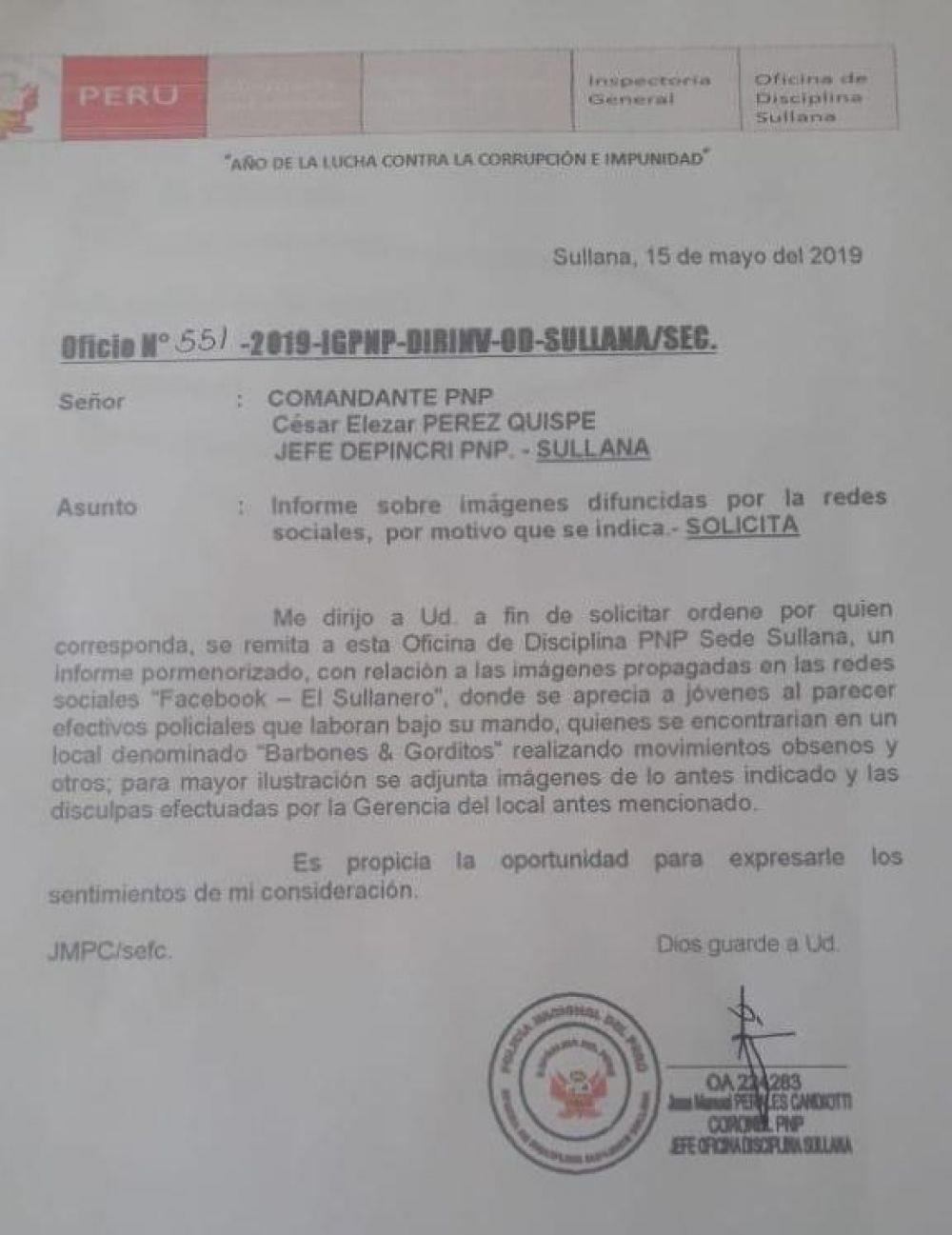 Oficio remitido por la Oficina de Disciplina de la PNP a la Depincri de Sullana.