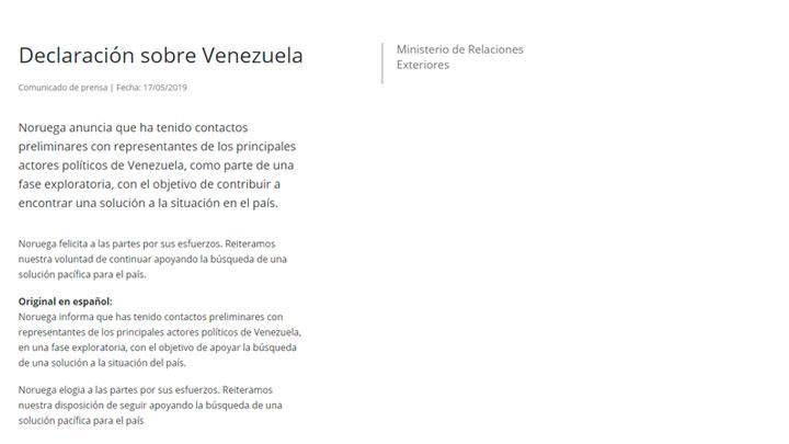 Noruega sobre Venezuela