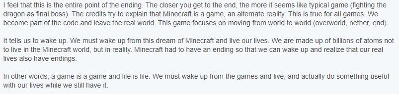 Minecraft Ending