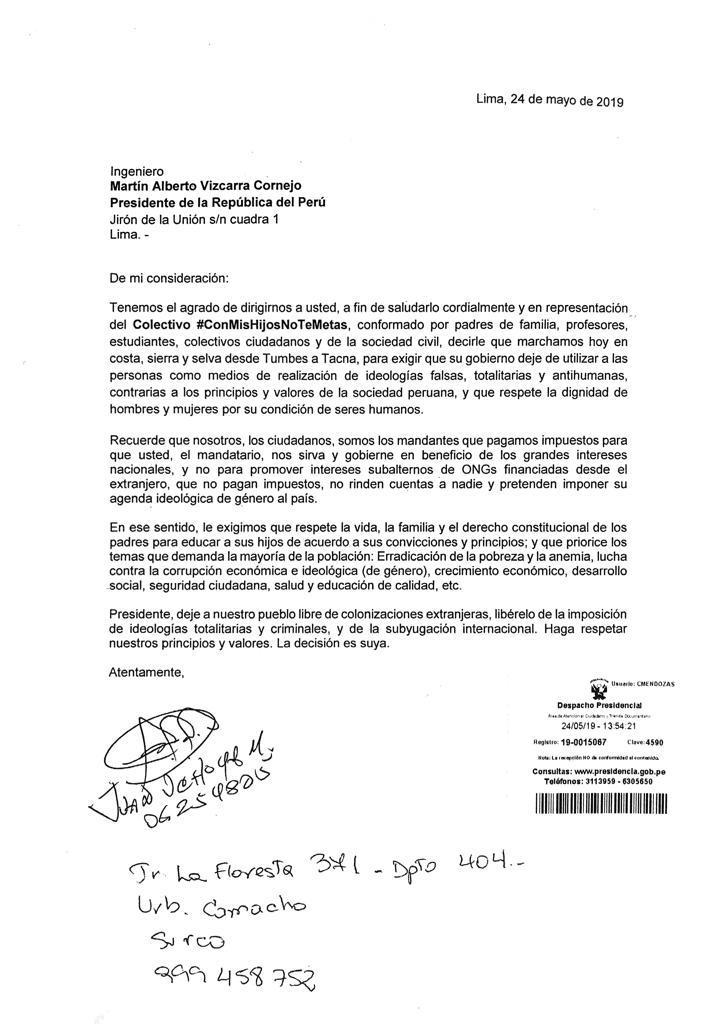 carta colectivo a vizcarra